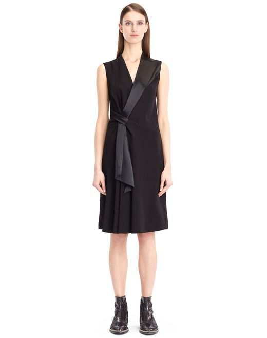 lanvin flowy crepe dress women
