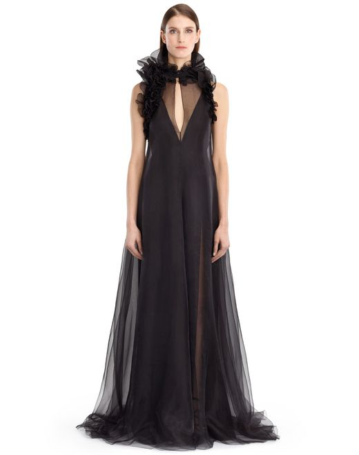 lanvin silk chiffon dress women