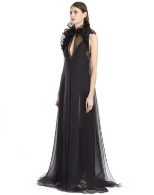 LANVIN SILK CHIFFON DRESS Long dress D e