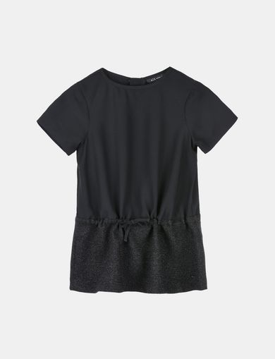 GIRLS SPARKLY HEM DRAWSTRING WAIST TEE