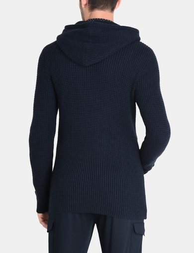 DOUBLE-BREASTED HOODED SWEATER JACKET