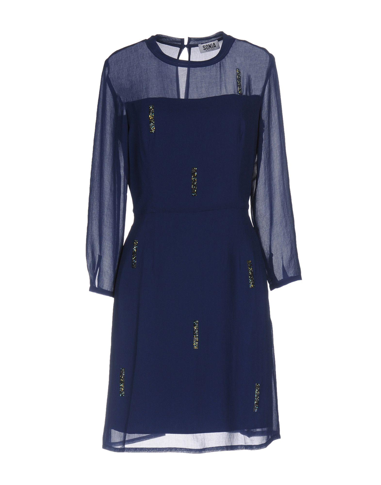 《セール開催中》SONIA by SONIA RYKIEL レディース ミニワンピース&ドレス ブルー 36 トリアセテート 70% / ポリエステル 30% / クリスタル