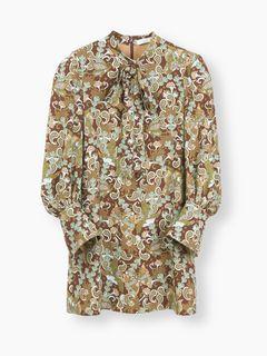 ボウタイ付きプリントドレス