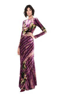 ALBERTA FERRETTI Long dress with floral foliage print Long Dress D a