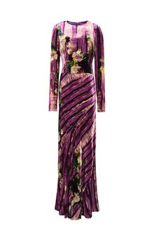 ALBERTA FERRETTI Long dress with floral foliage print Long Dress D d