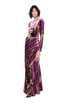 ALBERTA FERRETTI Long dress with floral foliage print Long Dress D f