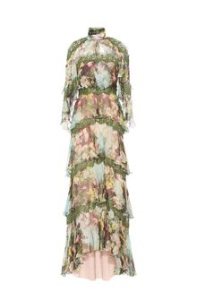 ALBERTA FERRETTI Long dress with flounces Long Dress D d