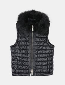 ARMANI EXCHANGE GIRLS FAUX FUR COLLAR SMOCKED PUFFER VEST PUFFER JACKET Woman f