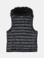 ARMANI EXCHANGE GIRLS FAUX FUR COLLAR SMOCKED PUFFER VEST PUFFER JACKET Woman r