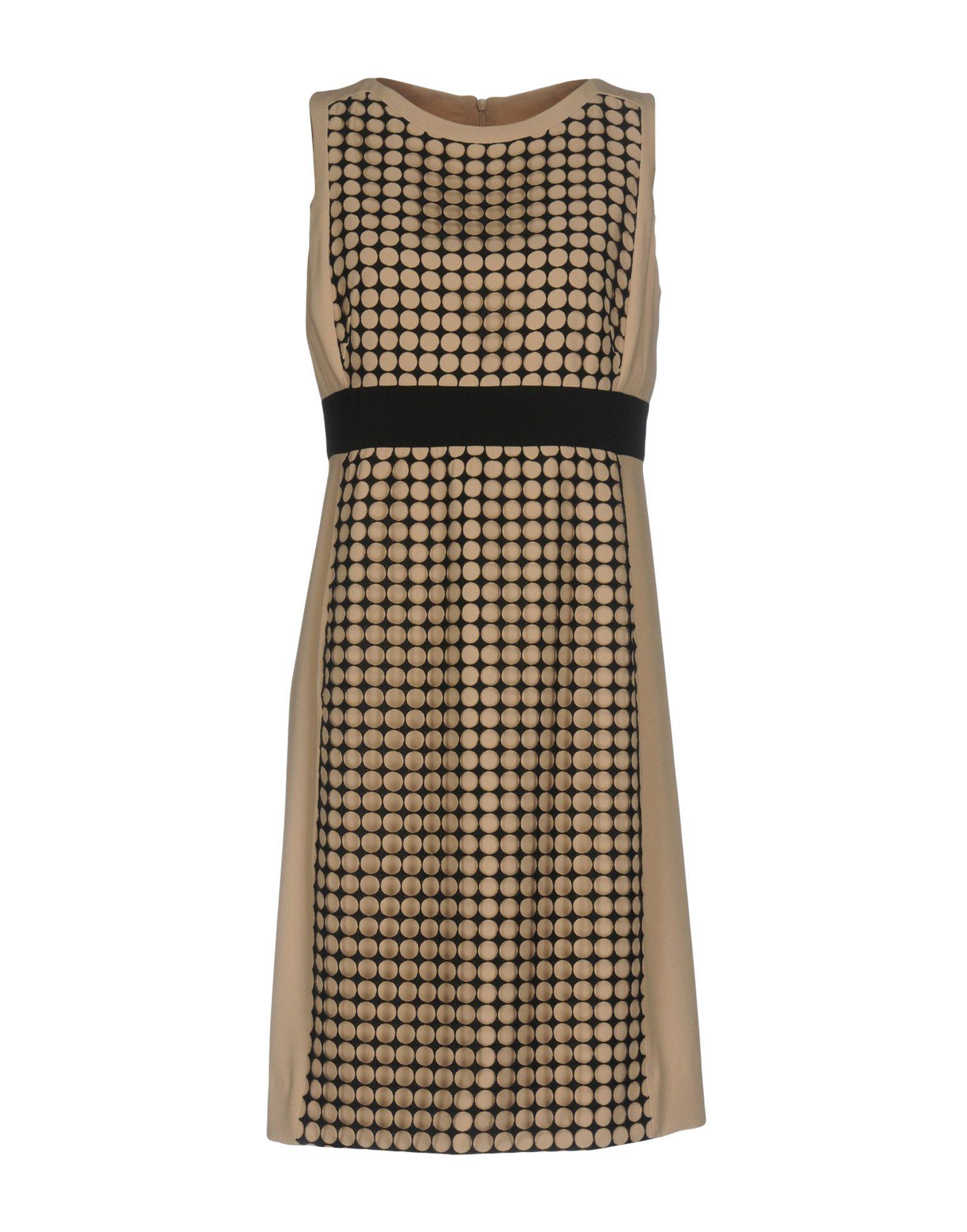 AKRIS PUNTO Short dresses. crêpe, plain weave, no appliqués, two-tone pattern, round collar, no pockets, sleeveless, lined interior, rear closure, zip closure, dress. 100% Polyester, Viscose, Acetate