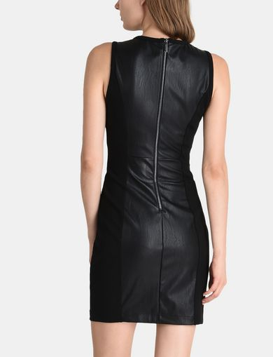 PIECED FAUX LEATHER BODYCON DRESS