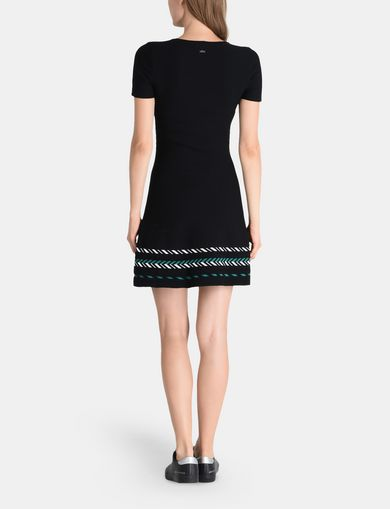 ZIGZAG JAQUARD SWEATER DRESS