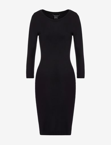 LONG SLEEVE SEAMED BODYCON DRESS