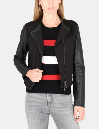 PIECED PONTE LEATHER JACKET