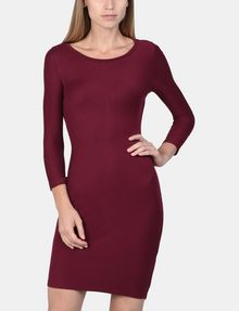 ARMANI EXCHANGE LONG SLEEVE SEAMED BODYCON DRESS Midi dress Woman f