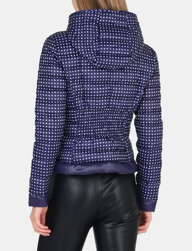 DOT PRINT HOODED PUFFER JACKET