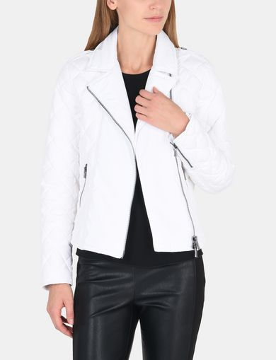 DIAMOND-QUILTED MOTO PUFFER JACKET