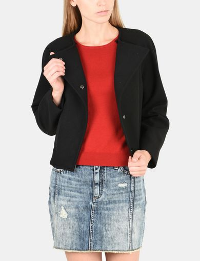ASYMMETRICAL COLLARLESS WOOL JACKET