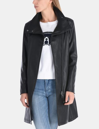 FAUX LEATHER FUNNELNECK COAT