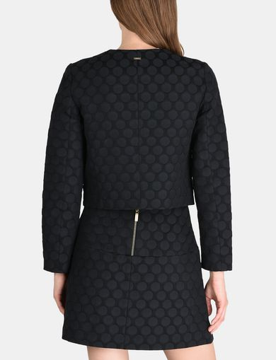 DOT JACQUARD COLLARLESS JACKET