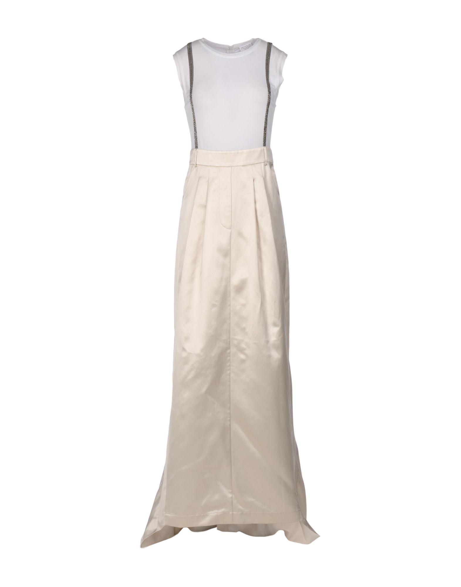 BRUNELLO CUCINELLI Damen Langes Kleid Farbe Weiß Größe 5