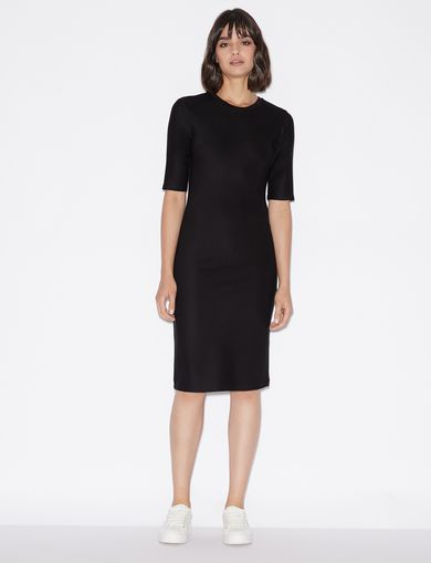 THREE-QUARTER SLEEVE SEAMED BODYCON