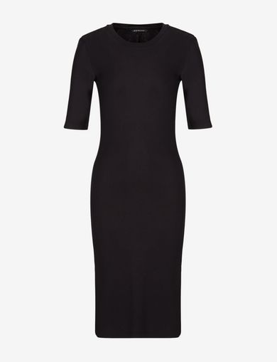3/4 SLEEVE SEAMED BODYCON DRESS