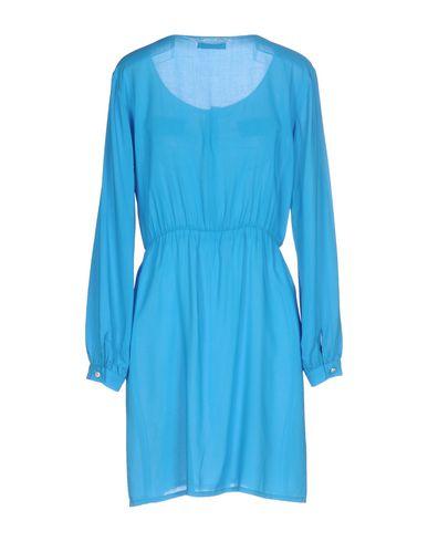 Фото 2 - Женское короткое платье  лазурного цвета
