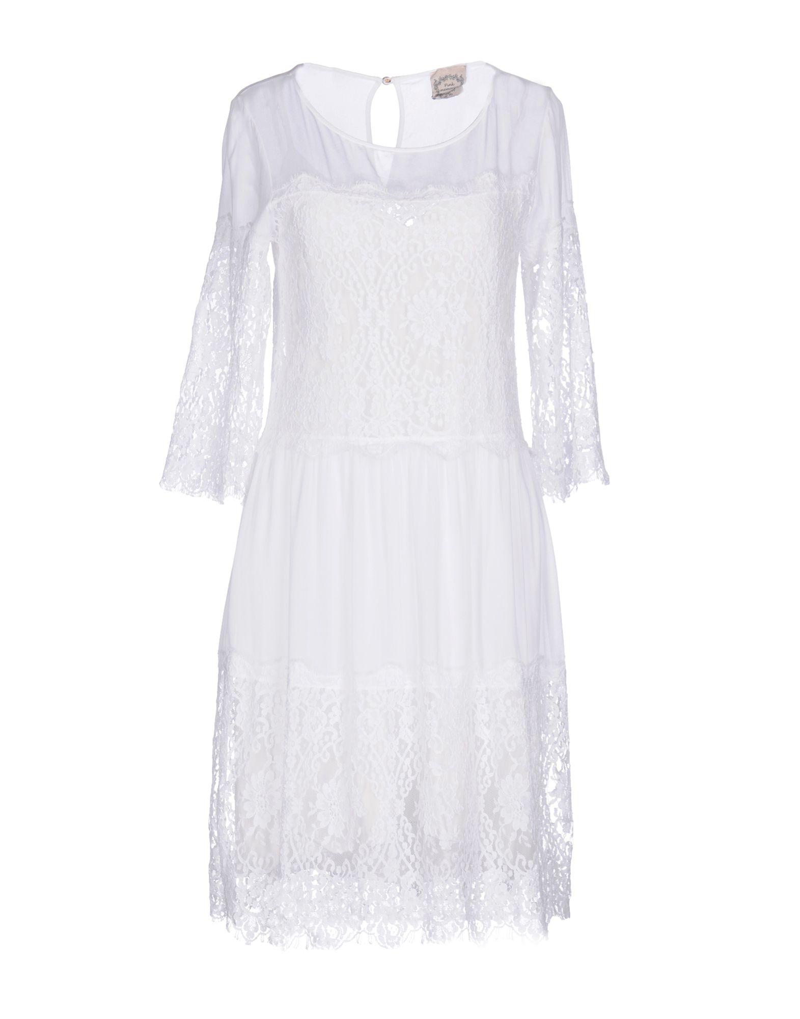PINK MEMORIES Damen Knielanges Kleid Farbe Weiß Größe 5