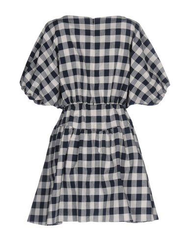 Фото 2 - Женское короткое платье DOUUOD темно-синего цвета