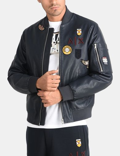 FAUX LEATHER PATCH BOMBER JACKET