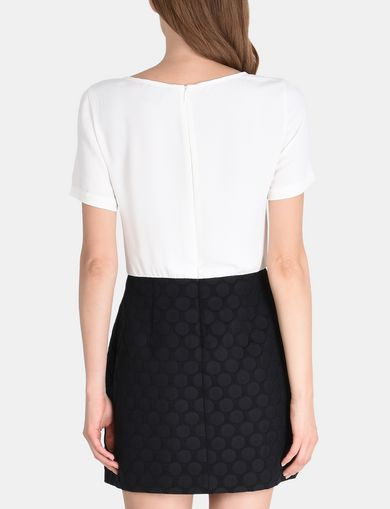 DOT JACQUARD TWOFER DRESS