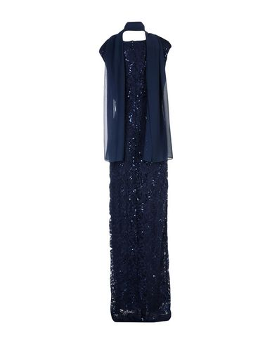 Фото 2 - Женское длинное платье MUSANI COUTURE темно-синего цвета
