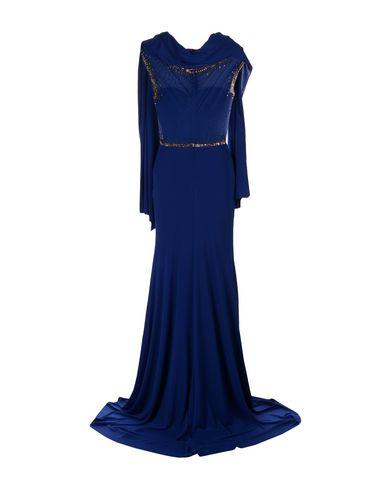 Фото 2 - Женское длинное платье MUSANI GOLD темно-синего цвета