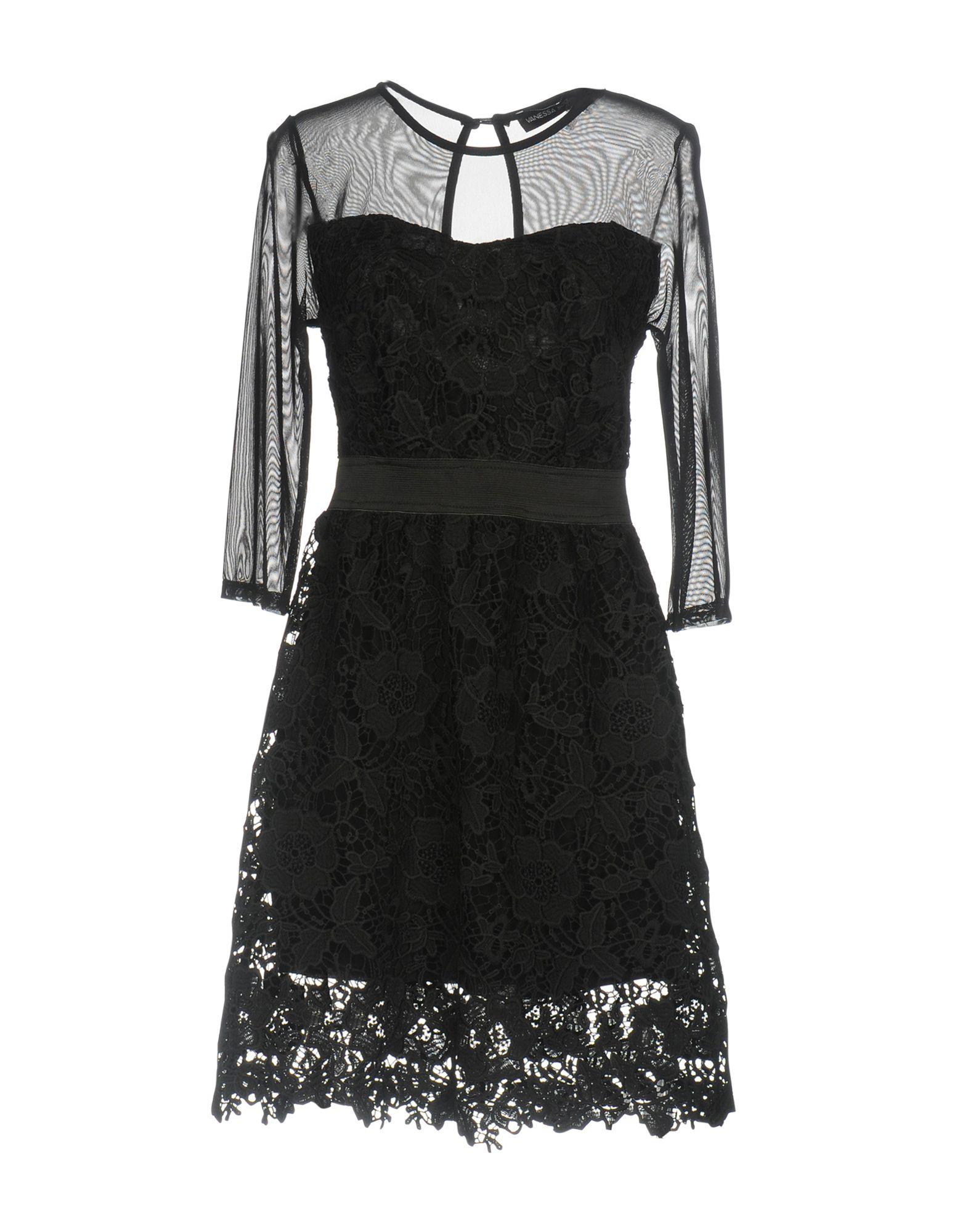 VANESSA SCOTT Damen Kurzes Kleid Farbe Schwarz Größe 4 - broschei