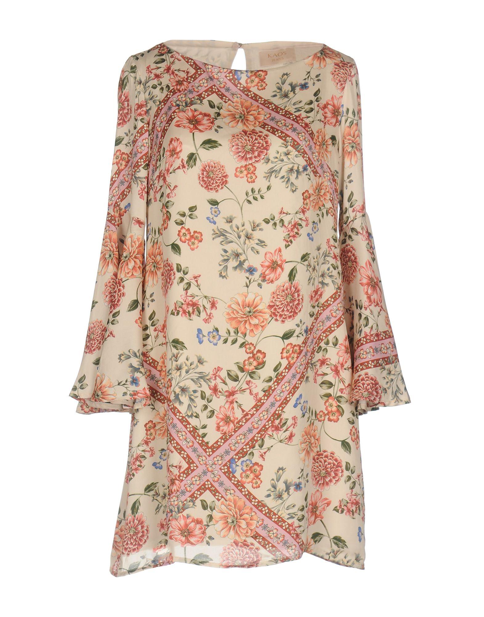 KAOS JEANS Damen Kurzes Kleid Farbe Beige Größe 7 jetztbilligerkaufen