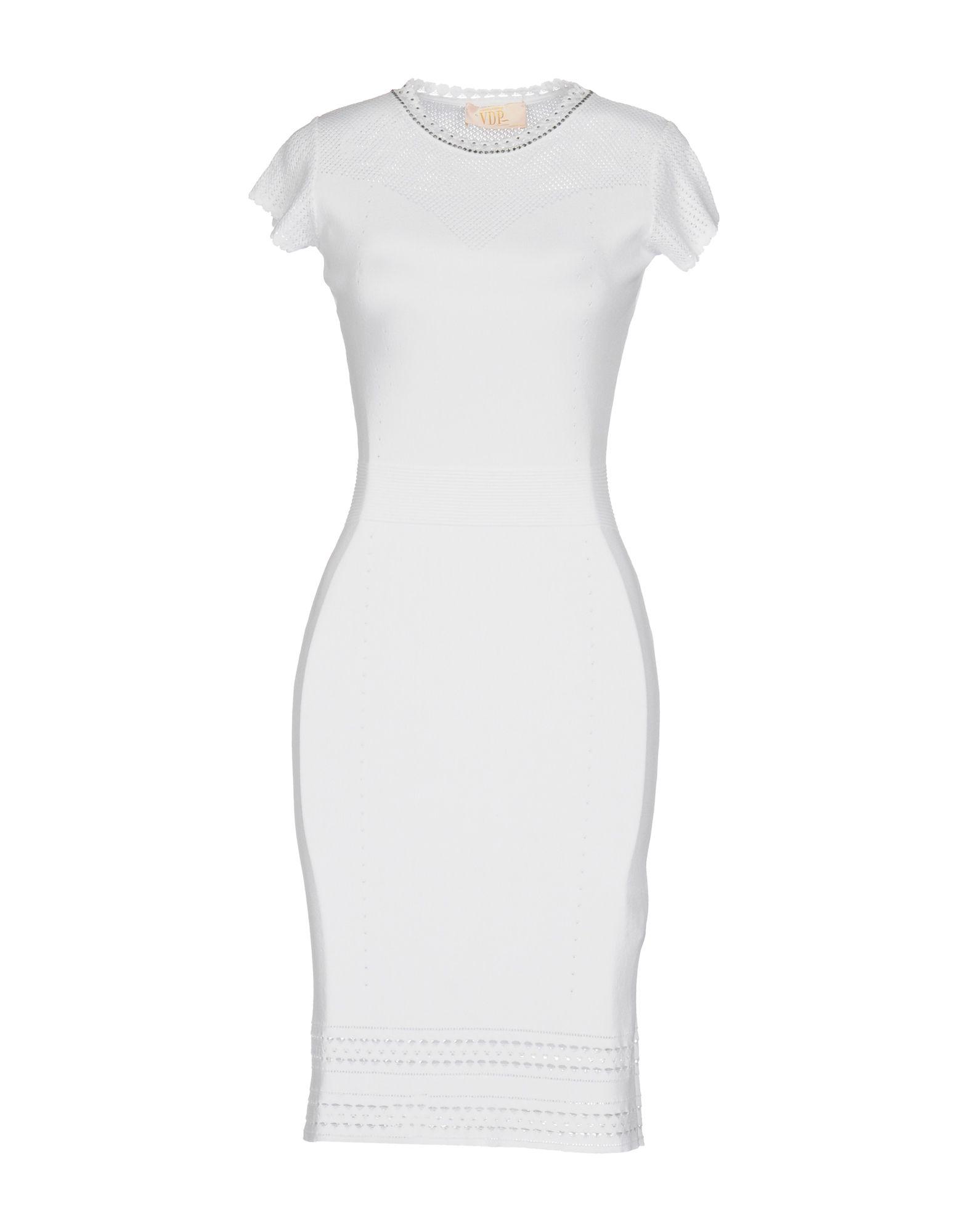 VDP COLLECTION Damen Kurzes Kleid Farbe Weiß Größe 4 - broschei