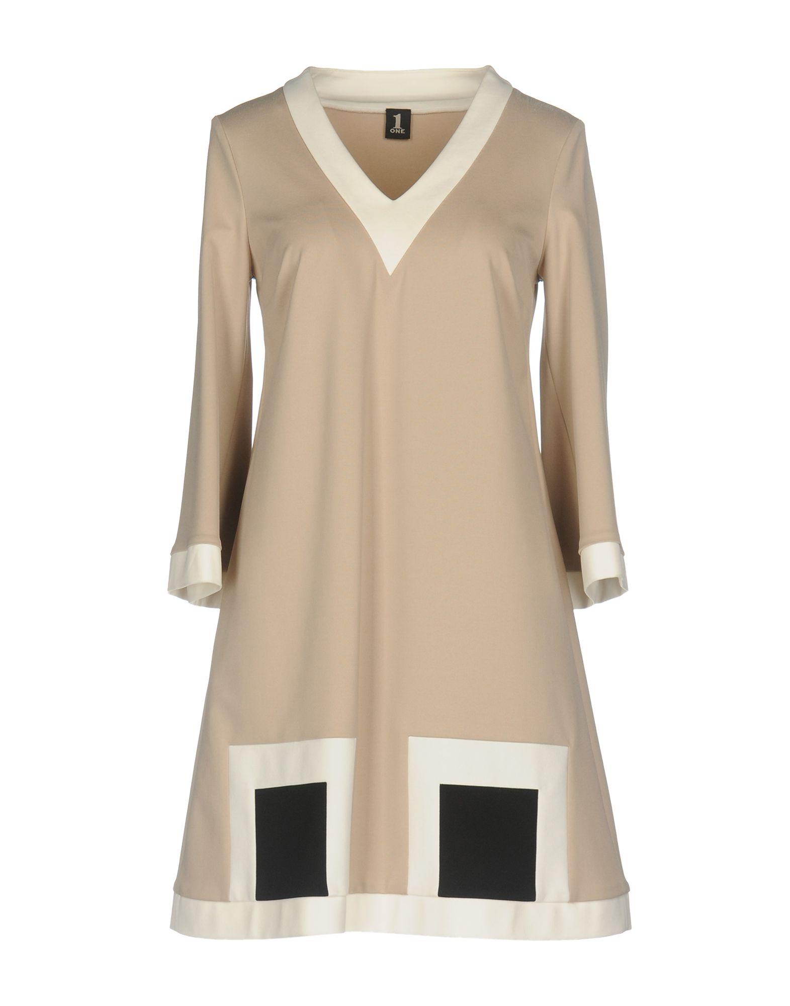 1-ONE Damen Kurzes Kleid Farbe Beige Größe 4 jetztbilligerkaufen