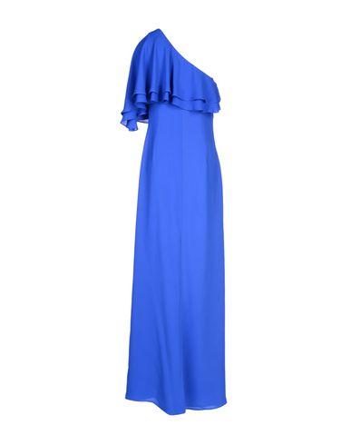 Фото 2 - Женское длинное платье  ярко-синего цвета