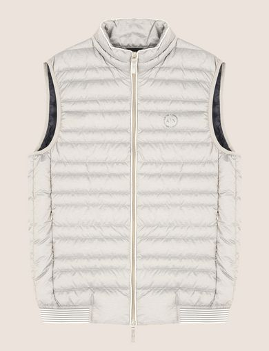 FUNNELNECK CHANNEL-QUILTED PUFFER VEST