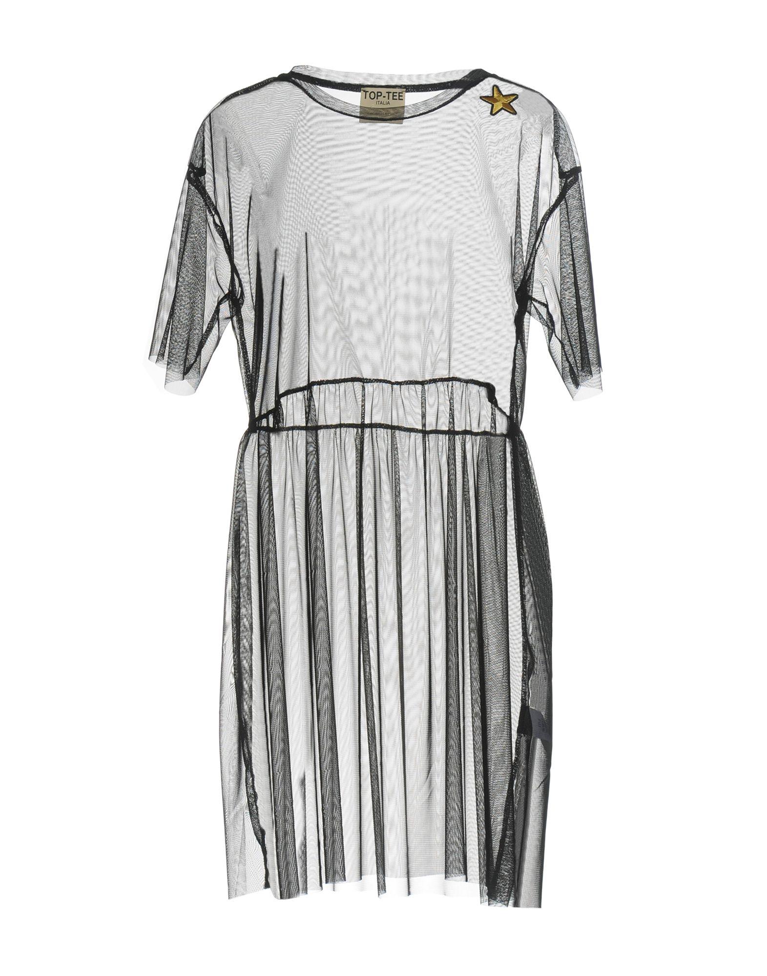 TOP-TEE Короткое платье lace up sheer mesh tee with tank top