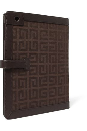 GIVENCHY Leather-trimmed printed twill iPad case