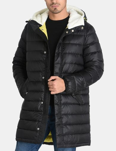 QUILTED DOWN-FILL HOODED COAT