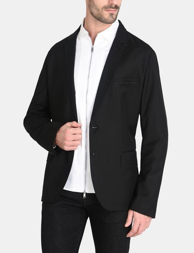 TWO-BUTTON TOPSTITCHED SUIT BLAZER