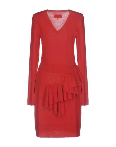 Фото 2 - Женское короткое платье  красного цвета