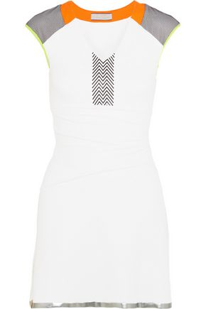 MONREAL LONDON Neon-paneled stretch-jersey mini dress