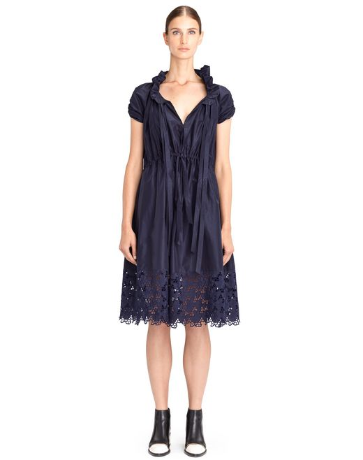 lanvin poplin embroidered dress women