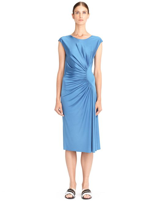 lanvin blue lanvin draped jersey dress women