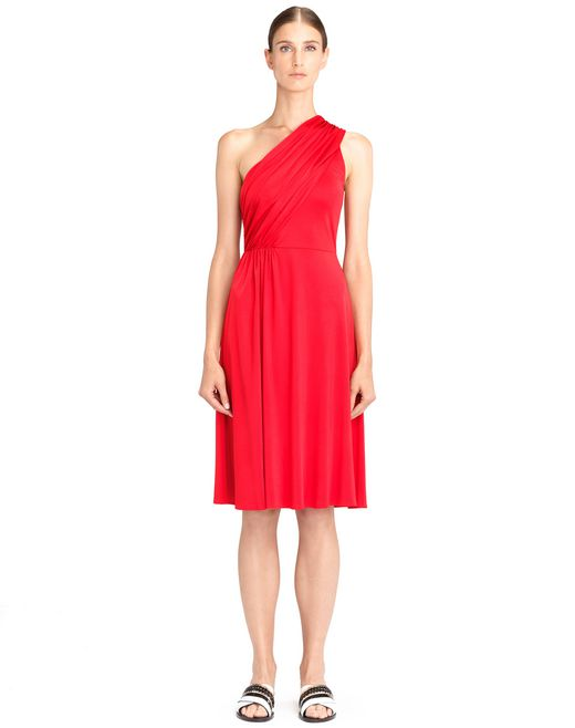 lanvin asymmetrical red dress women