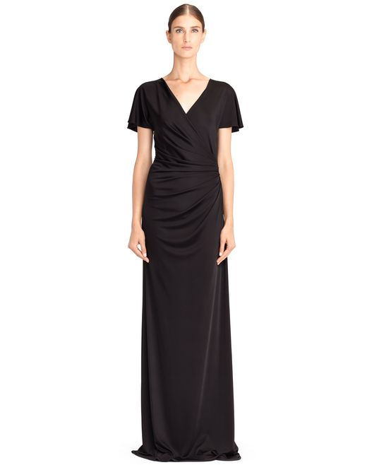lanvin long black jersey dress women